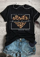Free Spirit Kind Heart Brave Soul Leopard T-Shirt