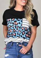 Leopard Striped Pocket Color Block T-Shirt