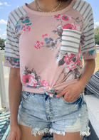 Floral Striped Splicing Pocket T-Shirt