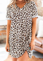 Leopard Twist V-Neck Mini Dress