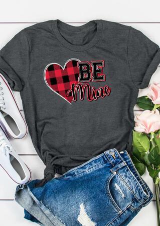 Be Mine Plaid Printed Splicing T-Shirt Tee - Dark Grey