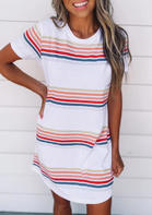 Colorful Striped O-Neck Mini Dress