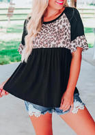 Leopard Splicing Ruffled Blouse