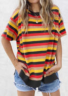 Colorful Striped Splicing Slit Blouse