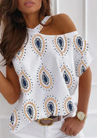 Paisley O-Neck One Shoulder Blouse
