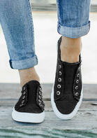 Canvas Slip-On Round Toe Flat Sneakers