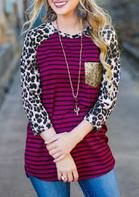 Leopard Striped Sequined Pocket T-Shirt