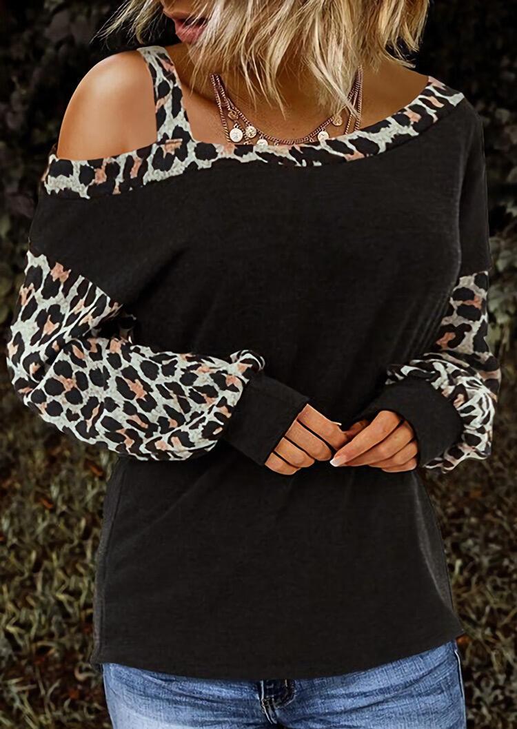 Leopard Cold Shoulder Blouse - Black