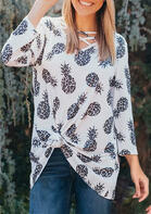 Leopard Pineapple Criss-Cross Blouse