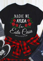Mexican Letter Graphic Rose T-Shirt