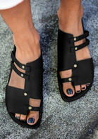 Hollow Out Slip On Flat Sandals