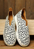 Leopard Round Toe Slip On Flat Sneakers - White