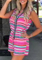 Colorful Striped Drawstring Romper