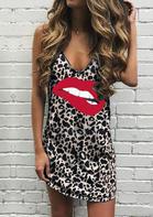 Leopard Lips Spaghetti Strap Mini Dress