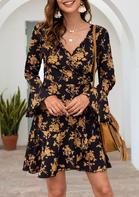 Floral Long Sleeve Mini Dress