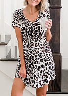 Leopard Pocket V-Neck Mini Dress