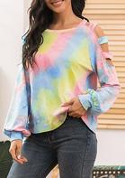 Tie Dye Cut Out Elastic Cuff Sweatshirt