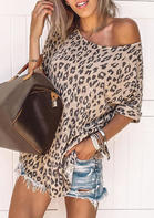 Leopard O-Neck Casual Blouse