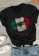 Mexican Flag Lips T-Shirt Tee - Black