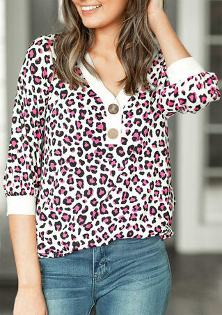 Leopard Splicing Color Block Button V-Neck Blouse