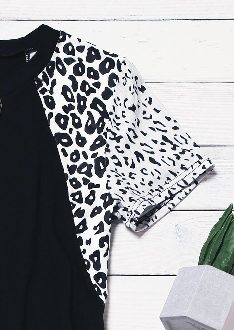 Leopard Splicing O-Neck Mini Dress - Black