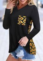 Sunflower Pocket V-Neck T-Shirt