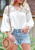 Lace Floral Splicing Cut Out Elastic Cuff Blouse