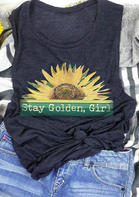 Stay Golden Girl Sunflower Tank