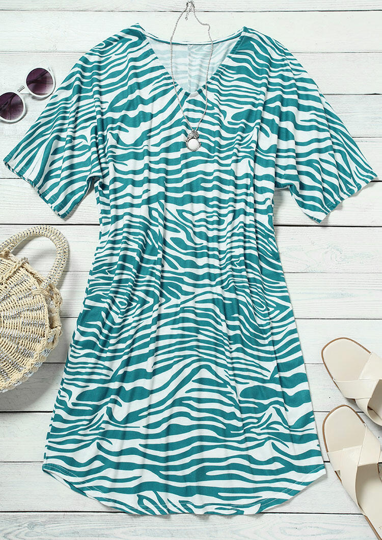 Zebra V-Neck Casual Mini Dress - Cyan