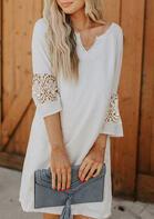 Lace Splicing Floral Mini Dress