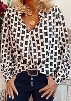 Geometric Long Sleeve V-Neck Shirt
