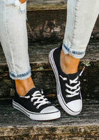 Lace Up Round Toe Flat Canvas Sneakers