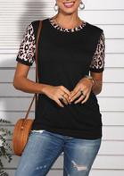 Leopard Splicing Button T-Shirt
