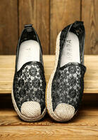 Lace Floral Braid Slip-On Flat Sneakers