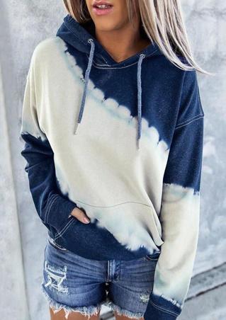 Color Block Kangaroo Pocket Drawstring Hoodie - Navy Blue