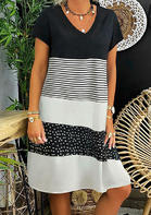 Polka Dot Splicing Striped Color Block Mini Dress