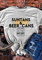 Suntans & Beer Cans Glasses Heart T-Shirt