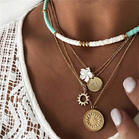 Bohemian Coin Enamel Choker Multi-Layered Necklace