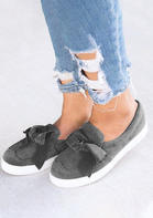 Bowknot Slip On Round Toe Flat Sneakers - Gray