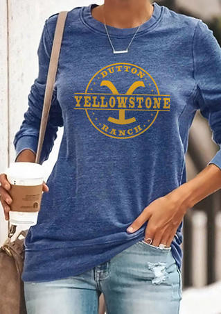 Yellowstone Dutton Ranch T-Shirt Tee without Necklace - Blue