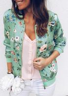 Floral Zipper Long Sleeve Coat