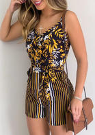 Leaf Striped Pocket Open Back Romper
