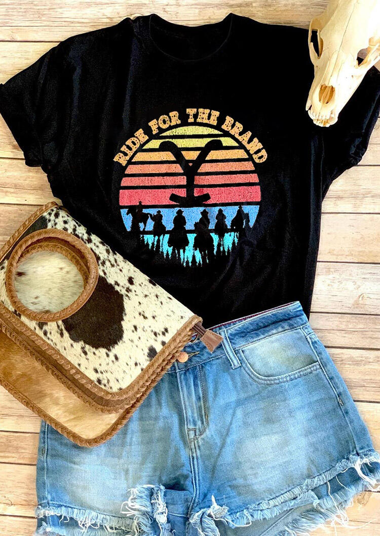 Ride For The Brand Cowboy O-Neck T-Shirt Tee - Black