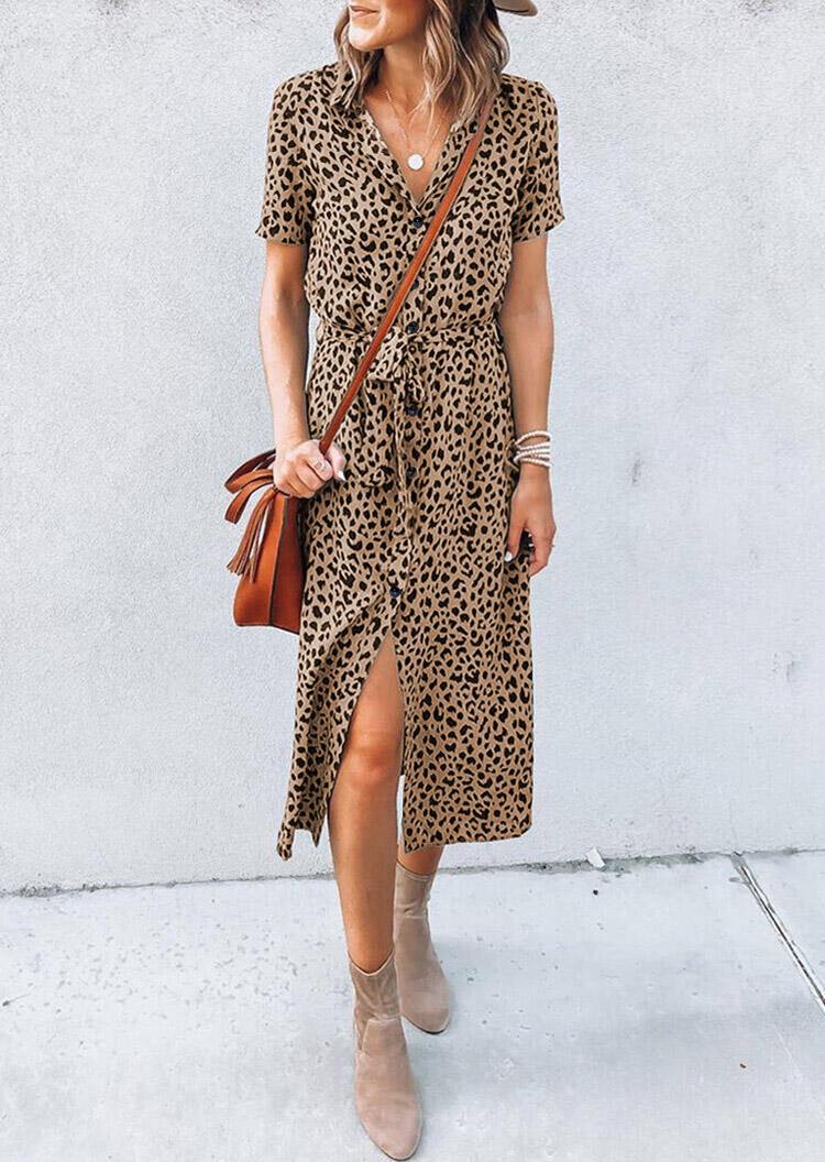 Leopard Turn-Down Collar Slit Midi Dress