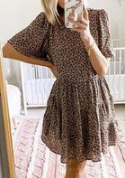 Leopard Ruffled Flare Sleeve Mini Dress
