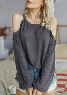 Cold Shoulder Long Sleeve Blouse