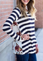 Floral Striped Splicing O-Neck T-Shirt