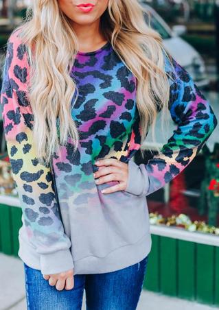 Colorful Leopard Gradient O-Neck Sweatshirt