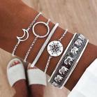 5Pcs Bohemian Moon Elephant Compass Bracelet Set