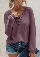 Button V-Neck Lantern Sleeve Blouse